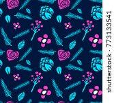memphis flower seamless pattern ... | Shutterstock .eps vector #773133541