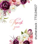 watercolor floral frame  ... | Shutterstock . vector #773134027