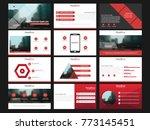 red presentation templates...   Shutterstock .eps vector #773145451
