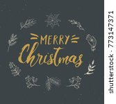 merry christmas calligraphic... | Shutterstock .eps vector #773147371