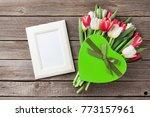 fresh tulip flowers bouquet ... | Shutterstock . vector #773157961