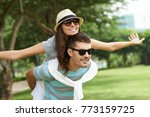 cheerful young man giving... | Shutterstock . vector #773159725
