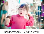 little girl with led lights... | Shutterstock . vector #773159941