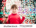 little girl with led lights... | Shutterstock . vector #773159959