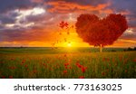 red heart shaped tree symbol of ... | Shutterstock . vector #773163025
