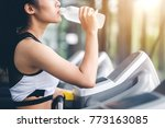 woman drinking water after... | Shutterstock . vector #773163085