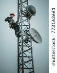telecom worker cliping...   Shutterstock . vector #773163661