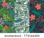 set of three seamless floral... | Shutterstock .eps vector #773166304