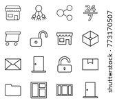 thin line icon set   shop ...   Shutterstock .eps vector #773170507