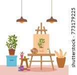 art studio interior colorful... | Shutterstock .eps vector #773179225