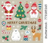 set of christmas elements. ... | Shutterstock .eps vector #773185165