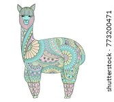 cute funny sweet colorful lama... | Shutterstock .eps vector #773200471