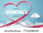 paper art of red heart ribbon... | Shutterstock .eps vector #773208049