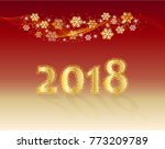new year 2018  greeting card ... | Shutterstock .eps vector #773209789