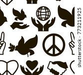 peace icons pattern | Shutterstock .eps vector #773211925