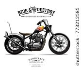 vintage chopper motorcycle... | Shutterstock .eps vector #773212585