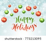 happy holidays greeting card.... | Shutterstock .eps vector #773213095