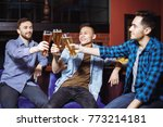 three young men in casual... | Shutterstock . vector #773214181