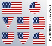 usa flag icon set. american... | Shutterstock .eps vector #773214271