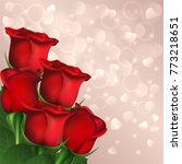red roses on hearts bokeh... | Shutterstock . vector #773218651