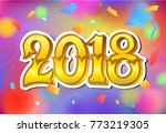 2018 happy new year. gold... | Shutterstock .eps vector #773219305
