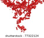 Falling red digit in percentage - stock photo