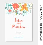 wedding invitation with floral... | Shutterstock . vector #773227534