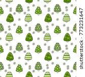 vector fir tree seamless... | Shutterstock .eps vector #773231647