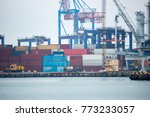 industrial port with containers.... | Shutterstock . vector #773233057