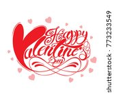 red happy valentines day hand... | Shutterstock .eps vector #773233549