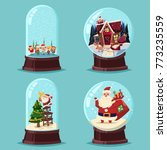 christmas snow globe vector... | Shutterstock .eps vector #773235559