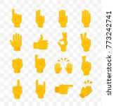 set of hands on transparent... | Shutterstock .eps vector #773242741