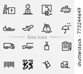 set of delivery vector thin... | Shutterstock .eps vector #773244649