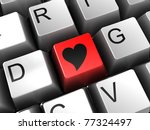 3d illustration of computer keyboard and heart shaped button, internet dating concept - stock photo