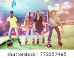 group of teenagers at roller... | Shutterstock . vector #773257465