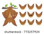 bat sleeping  hanging upside...   Shutterstock .eps vector #773257924