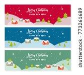 merry christmas banner set.... | Shutterstock .eps vector #773261689