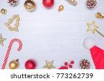 christmas composition. frame...   Shutterstock . vector #773262739