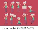 elderly character set  vector... | Shutterstock .eps vector #773264377