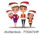 happy family at christmas with... | Shutterstock .eps vector #773267149