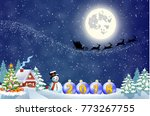 santa claus with gift bag and... | Shutterstock . vector #773267755
