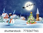 christmas landscape with... | Shutterstock . vector #773267761