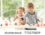 cute children painting pictures ... | Shutterstock . vector #773270839