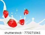 milk splash with strawberries.... | Shutterstock .eps vector #773271061