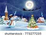 a house in a snowy christmas... | Shutterstock . vector #773277235