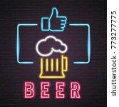 beer symbol neon light glowing...   Shutterstock .eps vector #773277775