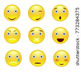 emotion smile icons set on... | Shutterstock . vector #773284375