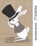Stock vector white rabbit and big black top hat 77328556