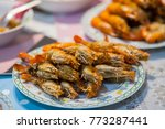 grilled shrimps on the dish | Shutterstock . vector #773287441
