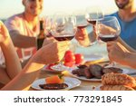 young people having barbecue... | Shutterstock . vector #773291845